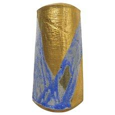 Modernist American Vintage Mid-20th Century Signed Art Pottery Gold Gilt/Powder/Cerulean Blue Decorated Slab Construction Stoneware Vase