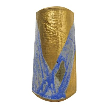 Modernist American Vintage Mid-20th Century Signed Art Pottery Gold Gilt/Powder/Cerulean Blue Decorated Slab Construction Stoneware Vase