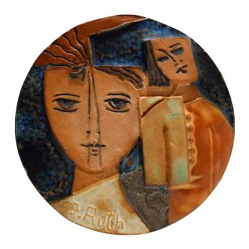 Ruth Faktorowicz (Israel/20th c) Vintage 'Mother & Daughter' Modernist Terracotta Ceramic Wall Hanging Art Pottery Signed 'F. Ruth'