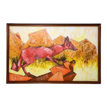 Kazys Daugela (Lithuania, 1912-1999) 'Red Fox in Landscape,' Mid-20th C Vint Oil on Canvas Modernist Heavy Impasto Palette Painting, Orig Frame