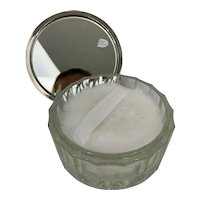 Vintage Glass & Silverplate Vanity Powder Box