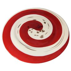 Beautiful Italian Red Murano Glass Platter in Swirled Pattern, a Product of Murano Italy