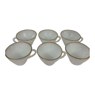 Set of 8 Anchor Hocking Milk Glass Coffee/Tea Cups