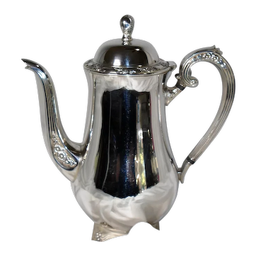 Oneida Silversmiths Coffee Pot with Hinged Lid and Delicate Floral Pattern