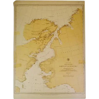 Authentic Antique 1885 Nautical Chart North American Polar Regions Baffin Bay To Lincoln Sea No. 962