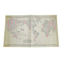 Authentic Vintage 1940 Time Zone Chart Of The World No. 5192 12th Edition