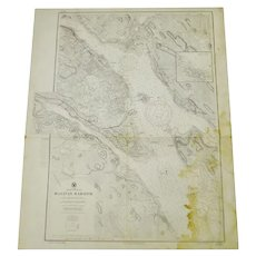 Authentic 1927 North America Canada Nova Scotia Halifax Harbor Nautical Chart No. 2534