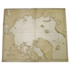 Authentic Antique 1885 North Polar Regions Chart Of The Arctic Ocean Nautical Chart No. 963