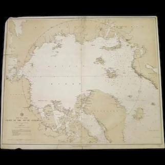 Authentic Antique 1885 North Polar Regions Chart Of The Arctic Ocean Nautical Chart No. 963