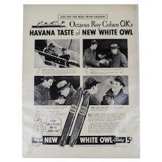 1940 Octavus Roy Cohen photos White Owl Havana Cuba Cuban cigar vintage print ad