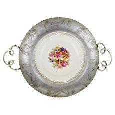 Vintage Limoges Farberware Triumph Hand Wrought Aluminum & Porcelain Dish 22K Gold