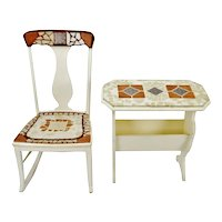 Vintage Mosaic Tiled Rocking Chair & Side End Table Magazine Rack