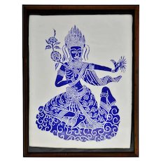 Vintage Framed Blue & White Thai Block Print on Textured Paper