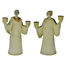 Vintage Ceramic Figural Candle Holders- A Pair