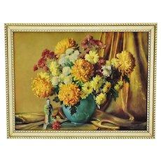 Vintage 1953 Framed M. Gernand Floral Still Life Lithograph