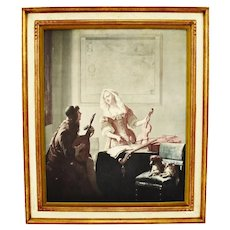 "Vintage Framed Print on Board ""The Musicians"" By Ochtervelt"