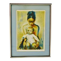 Vintage Framed Lithograph of Mother and Child with COA -  Artist Signed