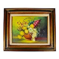 Vintage Framed Oil on Canvas Still Life of Flowers in Wicker Basket - Artist Signed