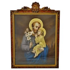 Antique Original Pastel Portrait Of St. Joseph and Baby Jesus in Carved Wood Frame