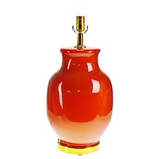 Vintage Terracotta Colored Glass Table Lamp