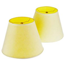 Vintage New Brunswick Linen Empire Shape Lamp Shades - A Pair