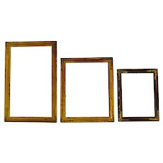 Antique Victorian Wood Picture Frames w/ Brass Corner Adornments - Group of 3