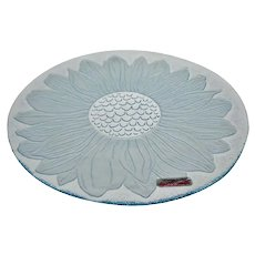 Vintage New Old Stock L.E. Smith Blue Sunflower Glass Serving Dish