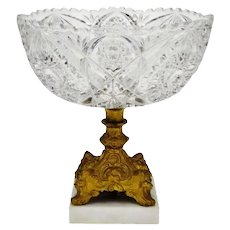 Vintage Cut Crystal Bride's Basket with Marble Base