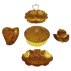 Mid Century Holley Ross 22KT Hand Decorated Weeping Bright Dishes - Group of 5