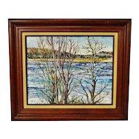 Vintage Framed Oil on Board Landscape Painting - Artist Signed