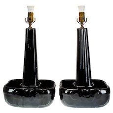Mid Century Modern Van Briggle Pottery Table Lamps - A Pair