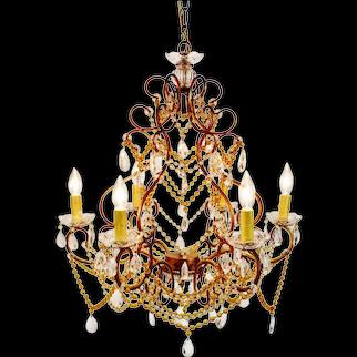 Vintage 6 Arm Crystal Prism Chandelier