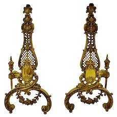 Vintage Ornate Brass Chenets Andirons Firedogs - A Pair