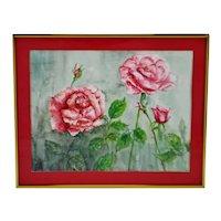 Vintage Framed Watercolor Floral Still Life Painting - Artist Signed