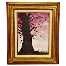 Vintage Framed Oil on Canvas Board Tree of Knowledge Painting - Artist Signed