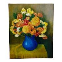 Vintage Impasto Oil on Canvas Floral Still Life Painting