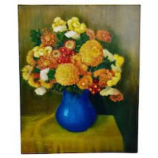 Vintage Impasto Oil on Canvas Floral Still Life Painting