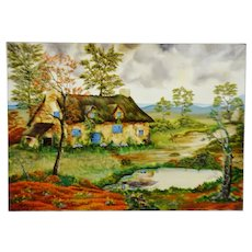 Vintage French Artist M. Frigoli Cottage by the Water Oil on Canvas - Artist Signed