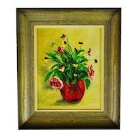 Vintage Framed Oil on Canvas Board Floral Still Life Painting - Artist Signed