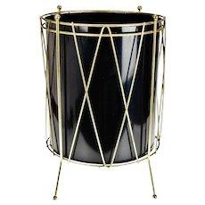 Vintage Black Metal Drum Look Wastebasket