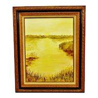 Vintage Framed Oil on Canvas Board Landscape Painting - Artist Signed