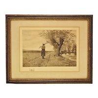 Vintage Framed Remarque Landscape Engraving by Rudolph Bleyer - Signed