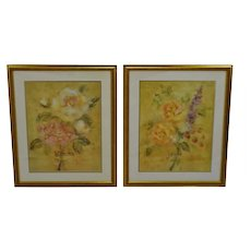 Vintage Framed French Jaune & Blanche Floral Still Life Prints