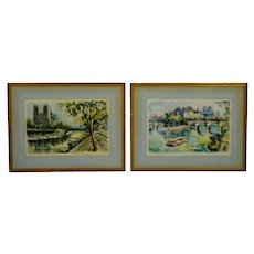 Vintage Framed Marius Girard Paris Notre Dame Watercolor Prints - A Pair
