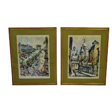 Vintage Large Framed Marius Girard Paris Watercolor Prints - A Pair