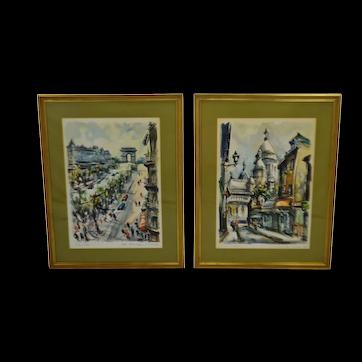 Vintage Large Framed Marius Girard Paris Watercolor Prints - A Pair