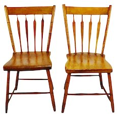 Antique Plank Seat Arrow Back Side Chairs - A Pair