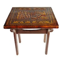Antique Tooled Leather Top Side Accent Table