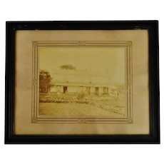 Antique Framed Sepia Homestead Photograph