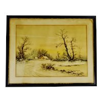 Antique Framed Mixed Media Country Landscape Scene